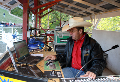 Benje Bendele works the sound at the Dayton (Iowa) Championship Rodeo over Labor Day weekend. (PHOTO BY TED HARBIN)