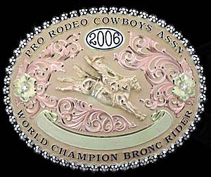 Since 2000, Montana Silversmiths has made the gold buckle for every ProRodeo world champion. (PHOTO COURTESY OF MONTANA SILVERSMITHS)