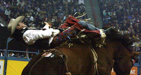 D.V. Fennell rides Beutler & Son Rodeo's Killer Bee on Saturday night during the third round of the Wrangler National Finals Rodeo.