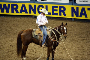 Tyson Durfey of Colbert, Wash., collects his rope after his 11.6-second run in in the first round of this year's Wrangler National Finals Rodeo. Durfey, who was raised near Savannah, Mo., won nearly $26,000 at the NFR, a big portion of which came on the final night of the competition. (PHOTO BY LYNETTE HARBIN)