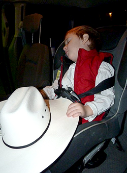 A long day at the National Western Stock Show was met with much needed rest when Cade got to the family car.