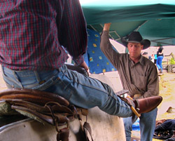 Dan Etbauer teaches at a New Zealand bronc riding school in 2007. Dan, Robert and Billy Etbauer have been a big part of the success of the Guymon (Okla.) Pioneer Days Rodeo, now in its 79th year.
