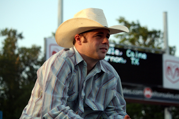 Bryan Richardson of Dallas watches the action in Claremore, Okla., earlier this year. Richardson won the 2010 West of the Pecos Rodeo and knows how important it is to get on high quality bulls, like those from Carr Pro Rodeo that will be featured in Pecos next week. (TED HARBIN PHOTO)