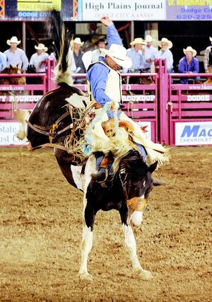 Jesse James Kirby of Dodge City, Kan., said he likes what he sees in the broncs that are part of the Carr Pro Rodeo string.