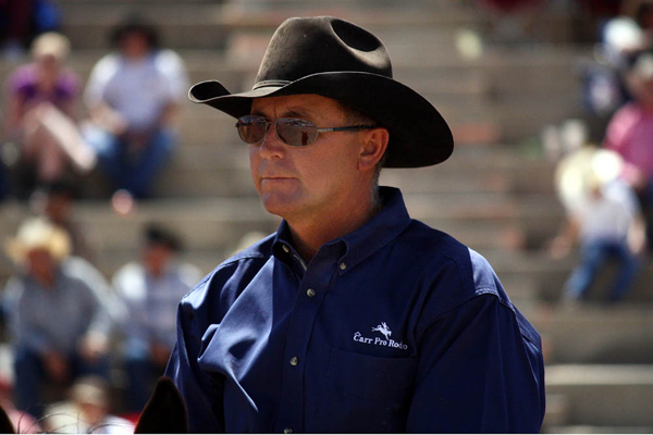 Paul Peterson of Southland, Texas, has been recognized for many years as one of the best pickup men in ProRodeo, and for good reason. Three times he's been selected to work the Wrangler National Finals Rodeo. He also works every event Carr Pro Rodeo produces. (TED HARBIN PHOTO)
