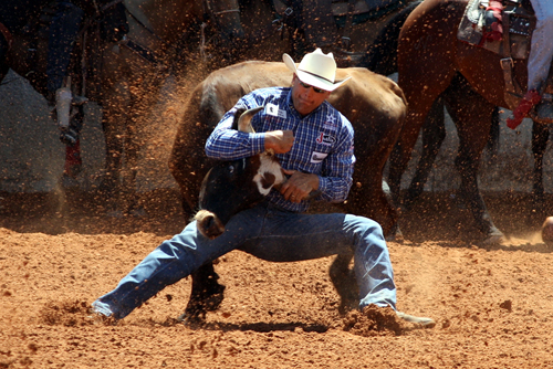 Two-time and reigning world champion Dean Gorsuch posted a 3.9-second run to take the first-round lead in steer wrestling.