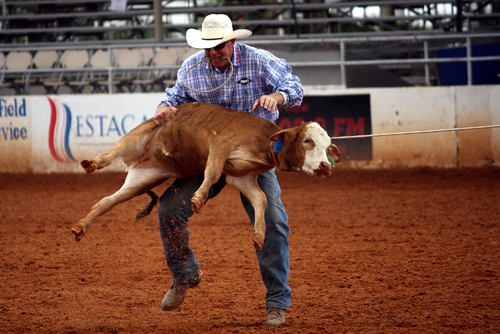 Mike Johnson, a 23-time qualifier to the Wrangler National Finals Rodeo from Henryetta, Okla., competes during Friday's slack at the Lea County Fair and Rodeo in Lovington, N.M.