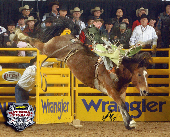 Royce Ford rides Riverboat Annie during the 2009 Wrangler National Finals Rodeo in Las Vegas. Riverboat Annie, the 2007 reserve world champion bareback horse, is one of the great animal athletes from Carr Pro Rodeo, which will have livestock at the Waller County Fair and Rodeo, set for Friday and Saturday in Hempstead, Texas.