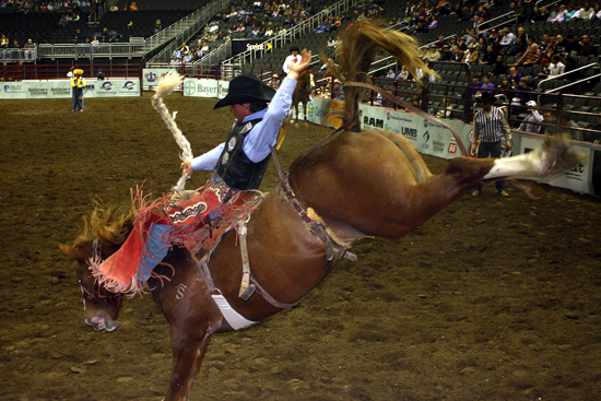 Cole Elshere rides Smith, Harper and Morgan's Flaming Desire for 89 points on Thursday night to take the saddle bronc riding lead at the American Royal Rodeo at the Sprint Center.