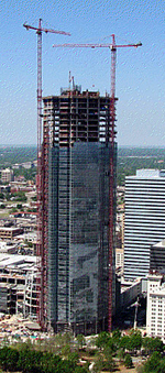 Construction continues on the Devon Tower in downtown Oklahoma City.