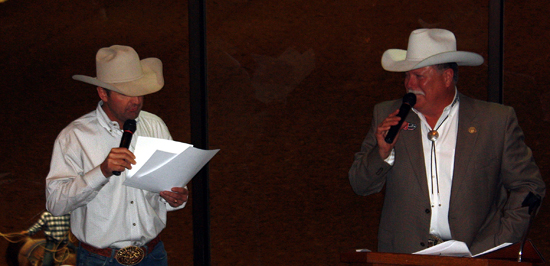 Announcers Justin McKee, left, and Charlie Throckmorton serve as emcees.