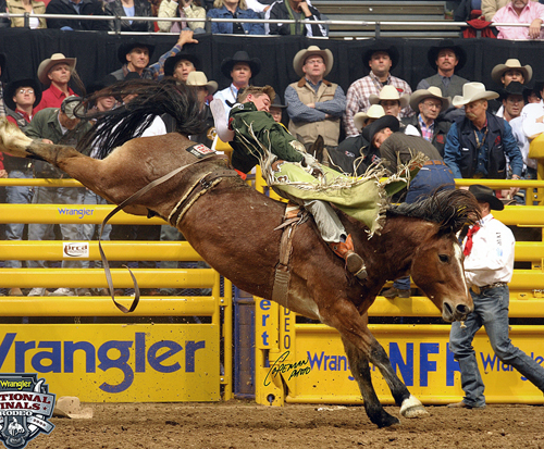 Royce Ford matches moves with River Boat Annie during a recent Wrangler National Finals Rodeo.