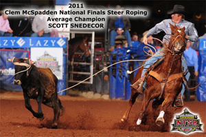 Scott Snedecor, a two-time world champion, was the only cowboy at the Clem McSpadden National Finals Steer Roping to tie down all 10 steers, winning his second average championship. (JAMES PHIFER PHOTO)