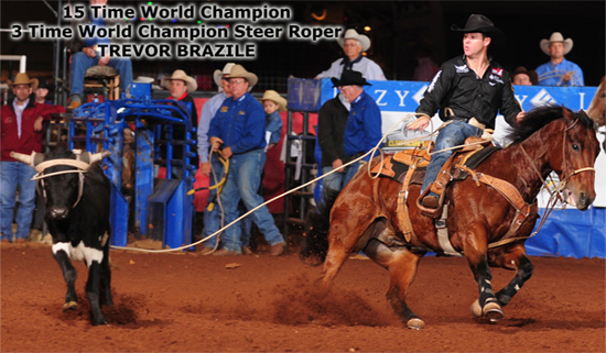 World Champion Trevor Brazile ropes on Saturday night, clinching his 15th overall gold buckle, his third in steer roping. (JAMES PHIFER PHOTO)