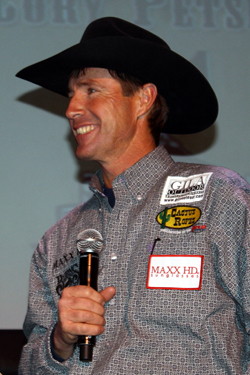 Two-time world champion header Matt Sherwood smiles during his interview at the South Point on Thursday during the Montana Silversmiths Go-Round Buckle Presentation. Sherwood and his partner, Cory Petska, won the opening round of the Wrangler National Finals Rodeo and have placed in two others in just the first four rounds.