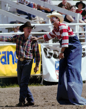 "Ash ""CrAsh"" Cooper oftentimes wears stilts when he performs as a barrelman/funnyman, which is what he will be doing during the 2012 Ram National Circuit Finals Rodeo, set for March 29-April 1 in Oklahoma City."