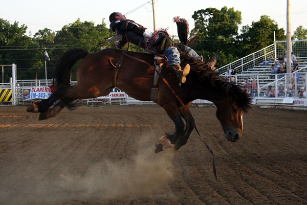 Bo Casper of Fort Scott, Kan., rides Wolverine during the 2011 Will Rogers Stampede. Casper is one of the 494 contestants who have entered the 66th edition of the rodeo, set for Friday-Sunday in Claremore, Okla. (TED HARBIN PHOTO)