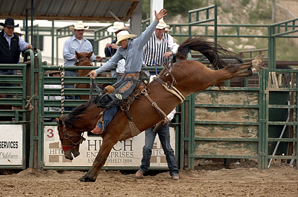 Isaac Diaz, a two-time Wrangler National Finals Rodeo qualifier from Desdemona, Texas, rides Carr Pro Rodeo's Get Back Jack in Guymon, Okla., earlier this year. He is one of the elite bronc riders who are scheduled to ride Carr horses at the Big Spring (Texas) Cowboy Reunion and Rodeo next week. (ROBBY FREEMAN PHOTO)