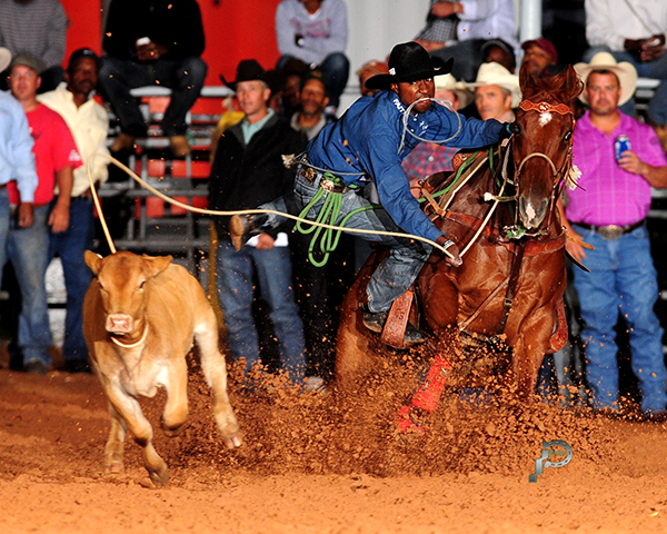 Cory Solomon of nearby Prairie View, Texas, won the tie-down roping contest that took place Tuesday night during the Waller County Fair and Rodeo in Hempstead, Texas. Solomon, a two-time NFR qualifier, will compete in the ProRodeo on Thursday night. (JAMES PHIFER PHOTO)