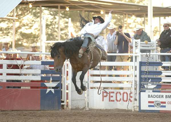 Steven Dent rides Carr Pro Rodeo's MGM Deuces Night for 91 points to win the West of the Pecos (Texas) Rodeo in June. MGM Deuces Night has been named the PRCA's Bareback Horse of the Year. (ROBBY FREEMAN PHOTO)