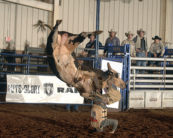 NFR qualifier Trevor Kastner lands on his head after being flipped by David Bailey Rodeo's Buckhorn during the second round of the Chisholm Trail Ram Prairie Circuit Finals Rodeo in Duncan, Okla. (ROBBY FREEMAN PHOTO)