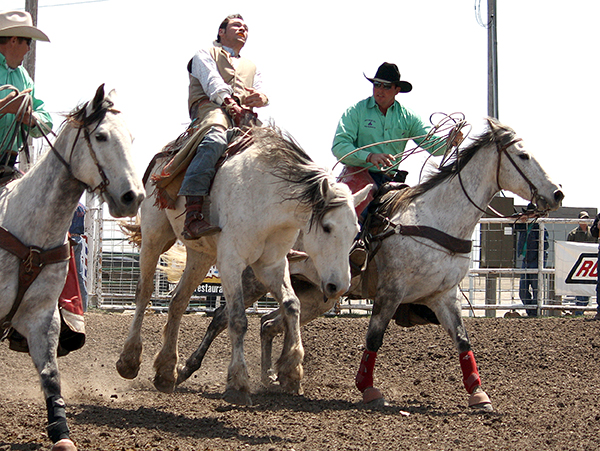 Jerome Schneeberger, right, works as a pickup man at a recent college rodeo in Hays, Kan. Schneeberger, a two-time tie-down roping champion at the Guymon Pioneer Days Rodeo, will serve as one of the pickup men at this year's rodeo in the Oklahoma Panhandle. He will be joined by Jeremy Hight and Matt Scott. (PHOTO BY TED HARBIN)