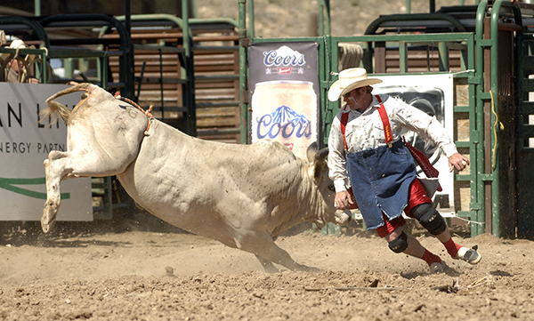 Chris Kirby fights a bull during a recent rodeo. Kirby will handle numerous tasks during the Will Rogers Stampede in Claremore, Okla., and will fight bulls with partner Clay Heger. (ROBBY FREEMAN PHOTO)