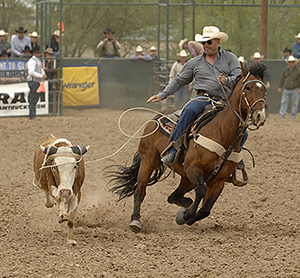 Three-time world champion Rocky Patterson competes on Sunday afternoon in Guymon. Patterson won the Pioneer Days Rodeo steer roping title for the second time in his career. (ROBBY FREEMAN PHOTO)
