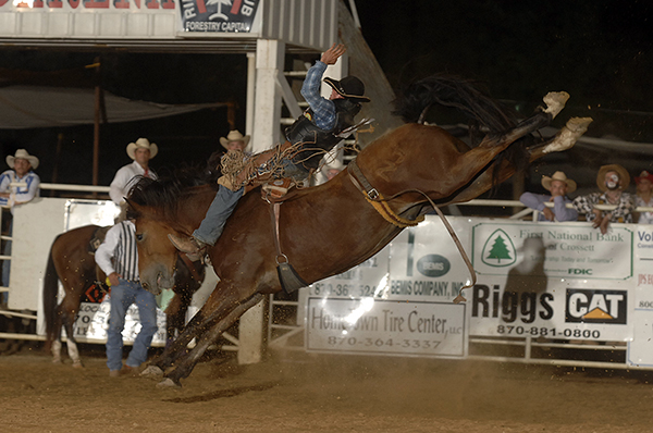 George Gillespie of Elgin, Ore., rides Big Tex for 90 points during the 2010 Crossett, Ark., rodeo. Big Tex was the 2010 Bareback Horse of the Year and has been a saddle bronc every year since. (ROBBY FREEMAN PHOTO)