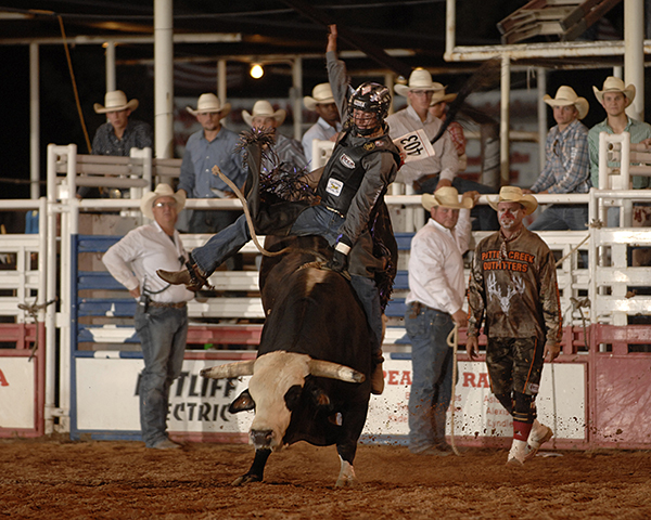 Beau Schroeder rides Pete Carr's Classic Pro Rodeo's Footloose for 89 points on Wednesday night to take the early lead at the 130th edition of the West of the Pecos Rodeo at Buck Jackson Arena in Pecos, Texas. It was Schroeder's first bull back since he suffered a serious injury in March. (ROBBY FREEMAN PHOTO)