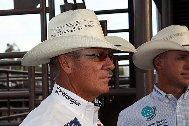World champion Clay O'Brien Cooper awaits the championship round introductions on the final night of the 2012 Dodge City Roundup Rodeo. Cooper won the rodeo with partner Chad Masters, and now Cooper hopes to repeat when the rodeo kicks off next week in Dodge City, Kan.