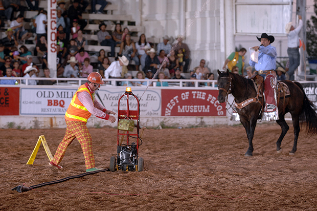 Gizmo McCracken and announcer Boyd Polhamus work an act together earlier this year in Pecos, Texas. The tandem will be at it again at the Dodge City Roundup Rodeo, set for 7:45 p.m. Thursday, July 31-Sunday, Aug. 4, at Roundup Arena. (ROBBY FREEMAN PHOTO)