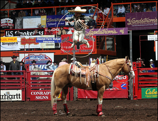 Charro Tomas Garcilazo will be one of the featured performers at the Will Rogers Stampede in Claremore, Okla. Garcilazo will bring his traditional Mexican horsemanship and put it on display for the fans in Claremore. (COURTESY TOMAS GARCILAZO)