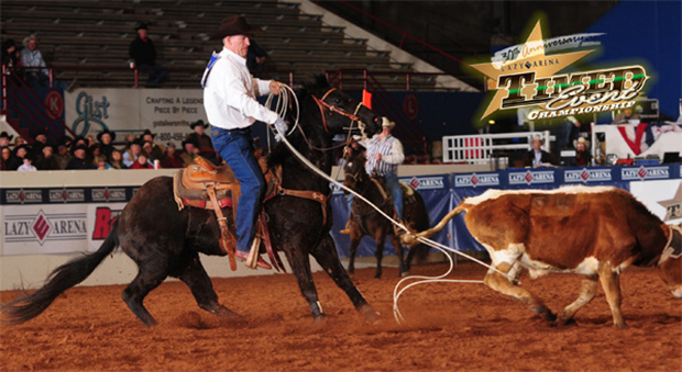 K.C. Jones of Burlington, Wyo., makes a heeling run during the 2014 Timed Event Championship at the Lazy E Arena. Jones posted a 56.7-second round to take the early lead. (JAMES PHIFER PHOTO)