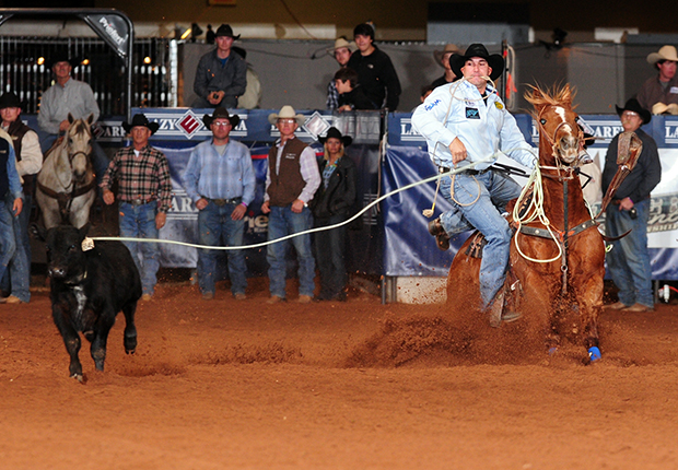 Landon McClaugherty ropes his calf on Friday night during the second round of the Timed Event Championship of the World at the Lazy E Arena. He is the leader heading into the second day of competition. (JAMES PHIFER PHOTO)