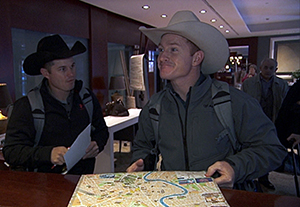 "Cowboy brothers Jet, left, and Cord McCoy get lost during the eight leg of the race, which took them through Italy on the All-Star edition of ""The Amazing Race."" (CBS PHOTO)"
