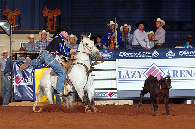 Josh Peek wins the first round at the Ram National Circuit Finals Rodeo at the Lazy E Arena on Thursday, finishing in 8.1 seconds. (PRCA PHOTO BY JAMES PHIFER)