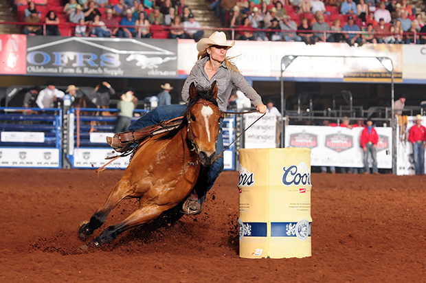 Gretchen Benbenek won the Ram National Circuit Finals Rodeo's barrel racing title, but she came to the sport a different way than most. Now she's chasing her gold-buckle dreams. (WPRA PHOTO BY JAMES PHIFER)