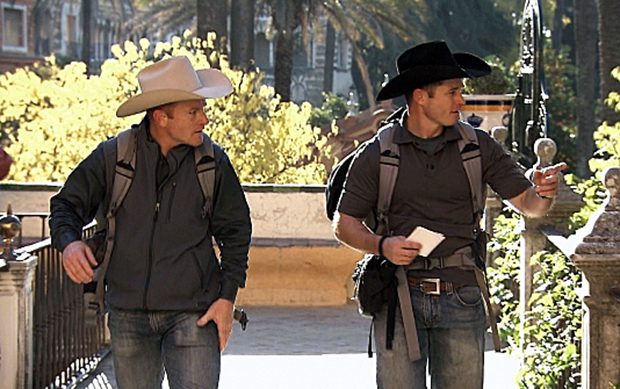 "Cord, left, and Jet McCoy search for a clue during the 10th episode of ""The Amazing Race"" All-Star Edition, which aired Sunday on CBS-TV. The McCoys were given a U-Turn and finished last in the leg, therefore, they were eliminated. (CBS PHOTO)"