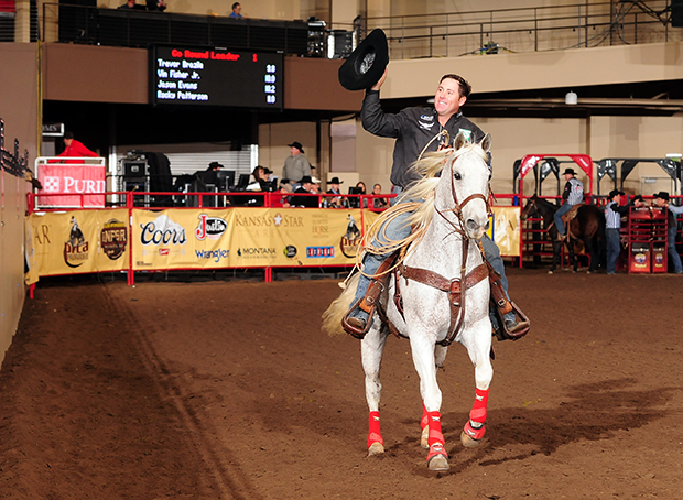 Trevor Brazile clinched his fifth steer roping and 20th world championship overall during the seventh go-round of the Clem McSpadden National Finals Steer Roping on Saturday night at the Kansas Star Arena. (JAMES PHIFER PHOTO)