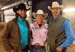 World Series MVP Madison Bumgarner, left, poses with tie-down roper Tyson Durfey and former NFL tight end Jay Novacek prior to the final round of the 2014 NFR. (PHOTO COURTESY OF TYSON DURFEY)
