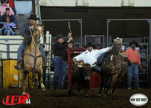 Danell Tipton won the 1995 IPRA bull riding world title but has qualified for the IFR each of the past two seasons in steer wrestling. (AMANDA RUTHERFORD PHOTO)