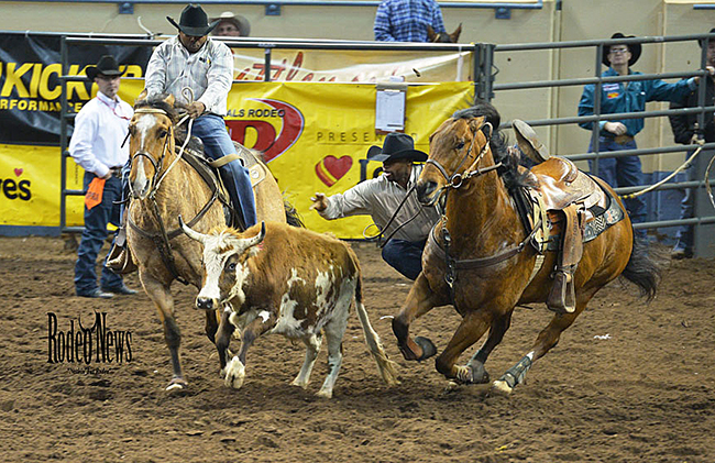 Steer wrestler Ronnie Fields has won at least a share of the title during all three go-rounds so far at IFR 45 and leads the average heading to the final round. (PHOTO BY LACEY STEVENS, RODEO NEWS)