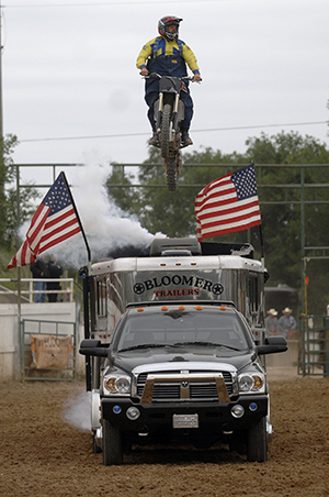 Troy Lerwill makes a jump during his act while performing at the 2012 Guymon (Okla.) Pioneer Days. He returns to the Oklahoma Panhandle this May, and the fans are ready. (ROBBY FREEMAN PHOTO)