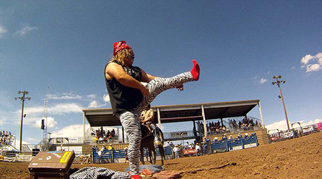 Rodeo clown Cody Sosebee performs during a recent rodeo. Sosebee has been recognized as one of the top barrelmen and entertainers in rodeo for several years, and he will bring his to the 2015 Dodge City (Kan.) Roundup Rodeo. (TODD BREWER PHOTO)