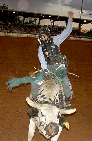 Sage Kimzey, the 2014 world champion bull rider, competes at a recent Lea County Xtreme Bulls. Kimzey utilized the Xtreme Bulls tour last season en route to becoming the first rookie in more than 50 years to win the bull riding gold buckle.
