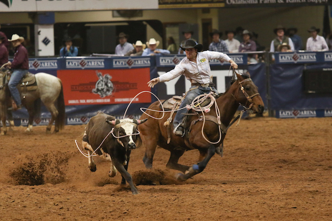 Paul David Tierney puts the finishing touches to his fourth go-round at the CINCH Timed Event Championship at the Lazy E Arena. The 2014 champion leads the average heading into Sunday's final round. (PHOTO BY STEPHANIE COOMBS)