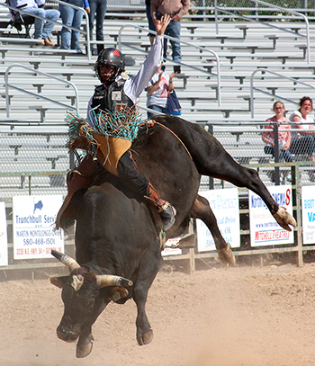 Two-time world champion bull rider Sage Kimzey rides during the 2015 Guymon Pioneer Days Rodeo, which begins next week and will feature more than 800 contestants.