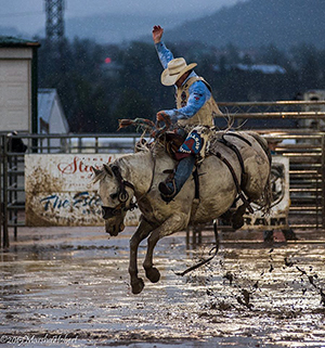 Chet Johnson, a four-time Wrangler National Finals Rodeo qualifier from Douglas, Wyo., rides during the 2015 Rooftop Rodeo in Estes Park, Colo. A record number of entrants are hoping to compete at this year's Rooftop Rodeo. (MARSHA HOBERT PHOTO)