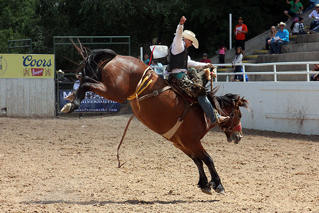 Roper Kiesner rides Pete Carr's Manhatten Moon for 83 points to finish third in Guymon, Okla., in early May. Keisner is the No. 1 saddle bronc rider in the Prairie Circuit as of June 1.